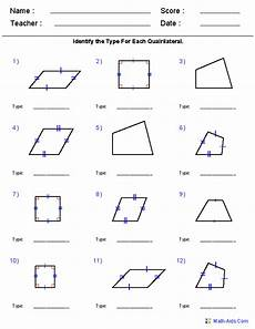 quadrilateral worksheets geometry worksheets quadrilaterals and polygons worksheets