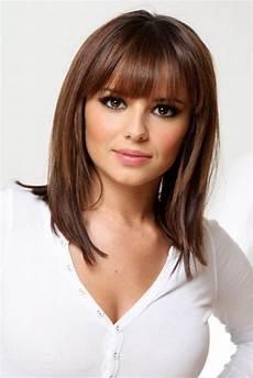 medium length hairstyles with bangs for fine hair pinterest medium length