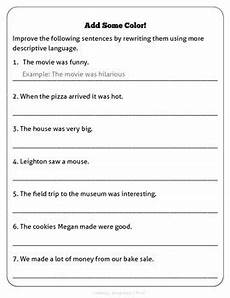 descriptive sentences worksheet adjectives worksheets 2019 01 13