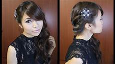 looped side swept prom hairstyle for medium long hair