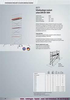 prix montage echafaudage m2 p98 echafaudages sc80 roulants 0 80 x 2 95 h 13 60m 8371 catalogue hymer tableau prix pour