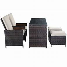 Cushioned Ottoman by 5pc Brown Cushioned Ottoman Rattan Wicker Patio Set