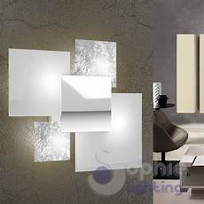 applique da parete design applique grande muro design moderno foglia argento bianco
