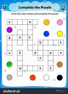 colors crossword worksheets 12726 worksheet complete crossword puzzle colors worksheet stock vector 516392611