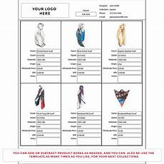 line sheets template wholesale line sheet template startup fashion