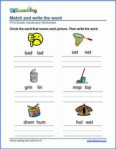 match and write words to pictures for grade 1 k5 learning