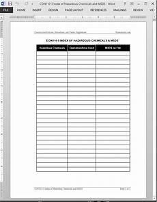 chemicals msds template