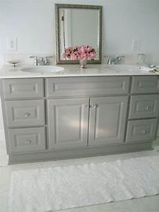 ideas for painting bathroom cabinets diy custom gray painted bathroom vanity from a builder grade cabinet hometalk