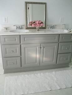 diy custom gray painted bathroom vanity from a builder