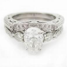 pear shape style diamond engagement ring wedding band pe4s