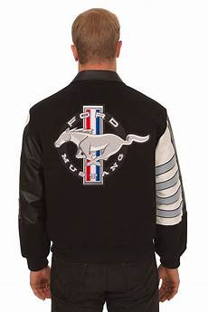 ford mustang embroidered wool leather jacket black