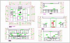 Kitchen Plan Elevation And Section by Kitchen Room Detail Plan Elevation Section View Dwg File