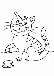 Ausmalbilder Siamkatze Kostenlose Malvorlage Katzen Katze Mit Futternapf Zum
