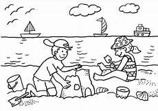 Malvorlagen Kinder Strand Ausmalbild Sommer Kinder Bauen Sandburg Kostenlos Ausdrucken