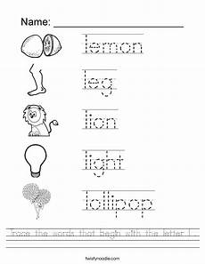 letter l sound worksheets 24492 trace the words that begin with the letter l worksheet twisty noodle