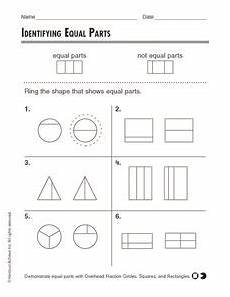 identifying equal parts worksheet for 2nd 3rd grade