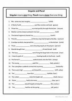 30 free esl singular and plural worksheets