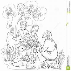 bible animals coloring pages 16909 jesus reading the bible to children and animals coloring page stock vector illustration of