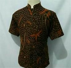 jual kemeja batik pria baju batik cowok krah koko shanghai d18 di lapak herliolshop herliolshop