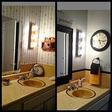mary homann s harvest gold bathroom before and after martha stewart mirror from home depot