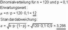 erwartungswert varianz einer binomialverteilung mathe