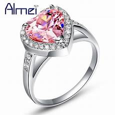 pink heart crystal rings for silver jewelry love cz zircon ring flower anel feminino with