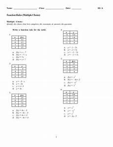 algebra 1 function rules worksheet multiple choice by terry daniels