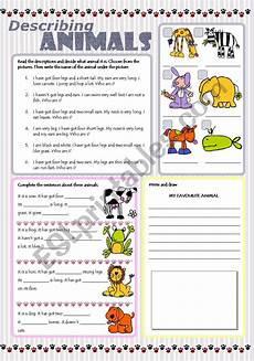 describing animals esl worksheet by tecus