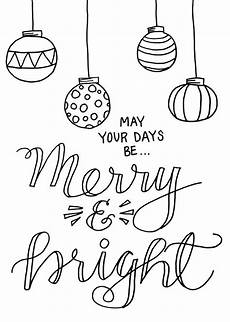 merry and bright coloring page printable