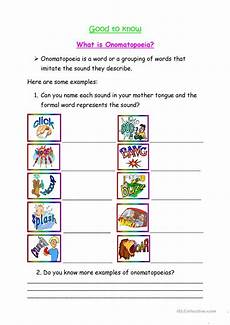 what is onomatopoeia worksheet free esl printable