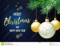 merry christmas and happy new year sports greeting card volleyball stock vector