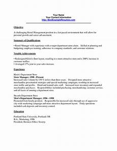 resume objective statement retail management resume objective for retail