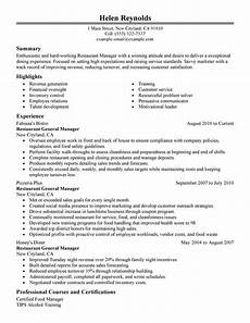 use our 1 restaurant manager resume exle to create yours