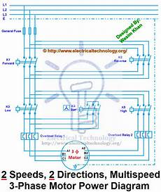 two speeds two directions multispeed 3 phase motor power control diagrams electrical technology