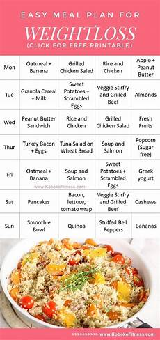 easy meal plan for weightloss extra free printable koboko fitness