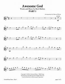 download awesome god violin or flute duet with piano accompaniment sheet music by rich mullins