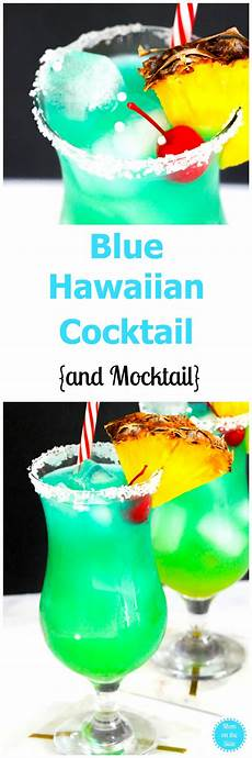 blue hawaiian cocktail and mocktail mom the side