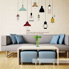 shine light bulb wall sticker living room bedroom decor mural art vinyl wallpaper tableware wall