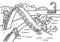 Ausmalbild Sommer Grundschule Kostenlose Malvorlage Sommer Wasserrutsche Ausmalen Zum