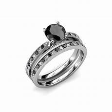 bridal ring black and white diamond four prong