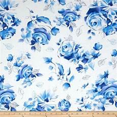 Michael Miller Blue White Large Floral Azure