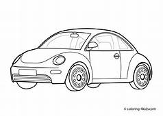 Car Volkswagen Beatle  Coloring Page For Kids