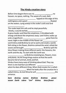 hindu creation story cloze sheet by noahstrolly teaching resources tes