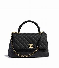 Coco Chanel Tasche - grained calfskin gold tone metal black flap bag with top