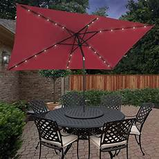 bcp 10 x6 2 deluxe solar led lighted rectangle patio umbrella w tilt sunshade green lawn