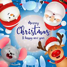 free vector merry christmas greeting card with cute characters
