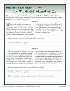 inference in literature the wizard of oz middle school