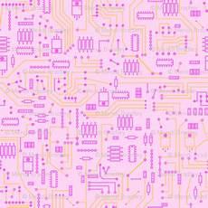 pink circuit large fabric mysteek spoonflower