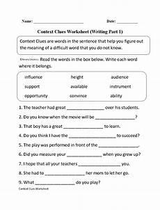 context clues worksheet writing part 1 intermediate context clues worksheets context clues