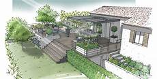 Amenagement Terrasse Jardin Jardin Sur Terrasse Semi Enterr 233 E Lamanon 13